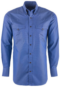 Lyle Lovett Men's Blue Royal Oxford Shirt - Front