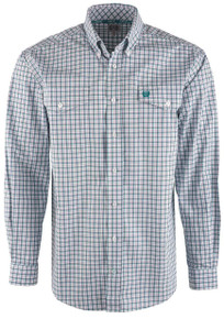 Cinch Men's Purple & Green Check Shirt - Front