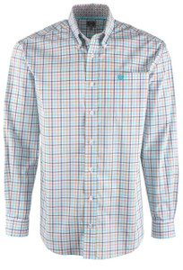 Cinch Men's Light Blue & Khaki Check Shirt - Front