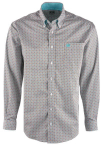 Cinch Men's Light Blue Multi Power Print Shirt - Front