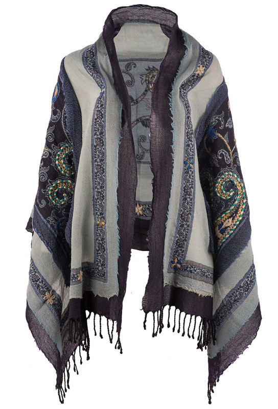 David Jeffrey Floral Embroidered Wool Shawl-Blue - Front