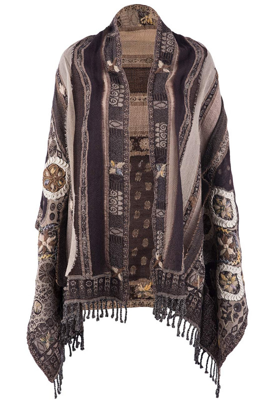 David Jeffrey Floral Embroidered Wool Shawl-Brown - Front