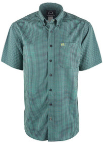Cinch Men's Green & Navy Print ArenaFlex Shirt - Front
