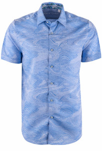 Robert Graham Sequential Blue Short Sleeve Shirt - Front