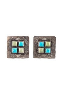 Rocki Gorman Square Cluster Multi Turquoise Earrings