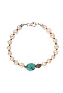 Breathe Deep Designs Freshwater Pearl, Quartz and Turquoise Clasp Bracelet
