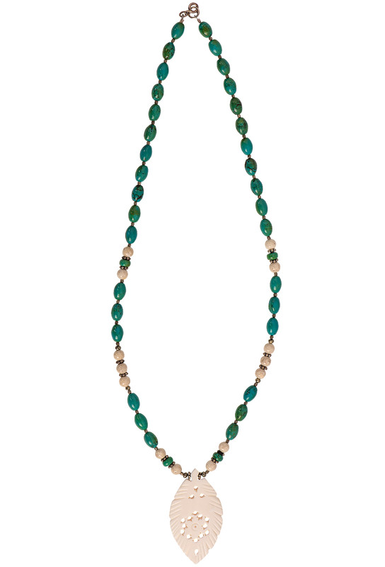 Breathe Deep Designs Turquoise & River Stone Bone Feather Necklace - Front