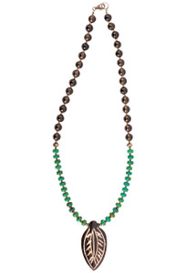 Breathe Deep Designs Smoky Topaz, Turquoise and Pyrite Bone Leaf Necklace- Front