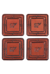 Pinto Ranch Stamped Leather Coaster Set - Set 1