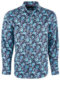 David Smith Teal Rose Shirt - Front