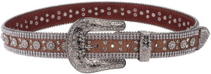 M & F Western Brown Crocodile Crystal Flower Belt
