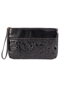 Hide and Chic Bianca Tooled Wristlet - Front