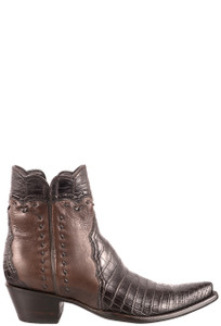 Stallion Women's Zorro Chocolate Crocodile Ankle Boot - Side
