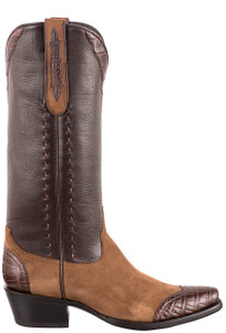Stallion Women's Tobacco Lamb Suede and Crocodile Boots - Side