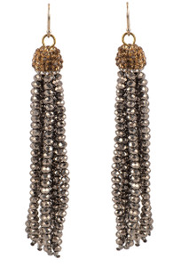 Ticklebutton Jewels Burnished Silver Crystal Tassel Earrings