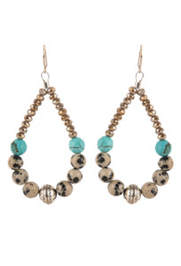 Ticklebutton Jewels Spotted Agate and Turquoise Hoop Earrings