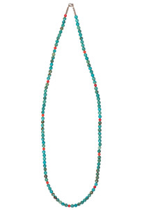 Ticklebutton Jewels Faceted Turquoise and Coral Necklace - Full