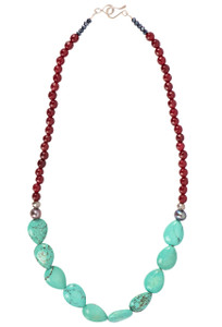 Ticklebutton Jewels Turquoise and Red Agate Necklace - Full