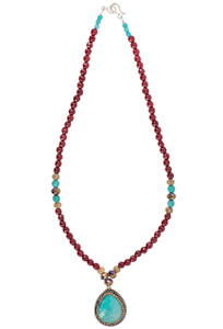 Ticklebutton Jewels Turquoise and Agate Necklace - Full