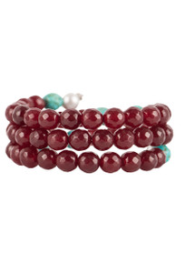 Ticklebutton Jewels Agate, Turquoise and Peach Freshwater Pearl Coil Bracelet - Front