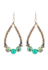Ticklebutton Jewels Large Chrysoprase and Crystal Beaded Hoop Earrings