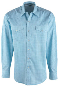 Stetson Blue Geometric Lattice Print Snap Shirt - Front