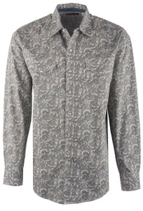 Stetson Grey Tooling Paisley Snap Shirt - Front