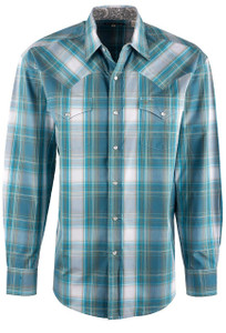 Stetson Blue Teal Plaid Snap Shirt - Front