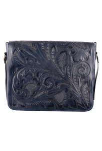 Hide And Chic Lorenzo Tooled Messenger Bag - Front
