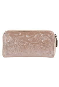 Hide and Chic Lolita Tooled Zip Wallet - Front