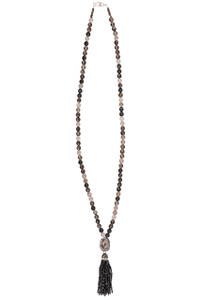 Ticklebutton Jewels Rutilated Quartz and Black Crystal Tassel Necklace - Full