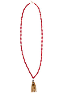 Ticklebutton Jewels Red Coral Bead and Gold Crystal Tassel Necklace - Full