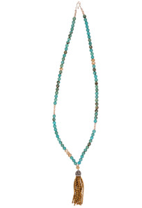 Ticklebutton Jewels Turquoise, Peach Freshwater Pearl and Crystal Tassel Necklace - Full