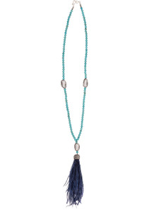 Ticklebutton Jewels Turquoise, White Freshwater Pearl and Peacock Tassel Necklace - Full