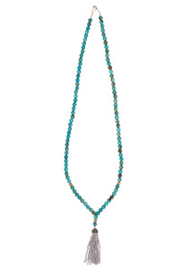 Ticklebutton Jewels Turquoise, Czech Glass and Silver Crystal Tassel Necklace - Front
