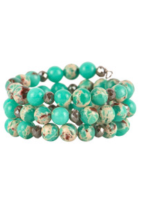 Ticklebutton Jewels Chrysoprase Coil Bracelet - Front
