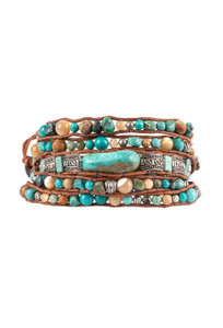 Wrapped to Wear Turquoise Nugget and Sterling Silver Wrap Bracelet