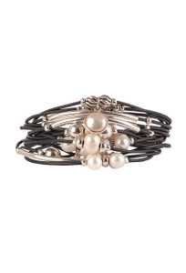 Wrapped to Wear Pearl and Sterling Silver Scatter Wrap Bracelet - Front