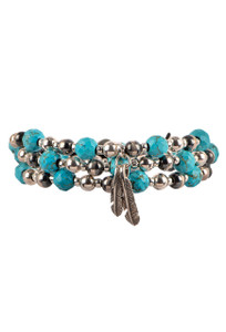 Wrapped to Wear Turquoise and Navajo Pearl Feather Wrap Bracelet