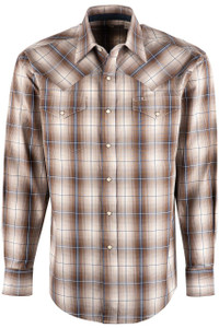 Stetson Sand & Slate Ombre Plaid Snap Shirt - Front