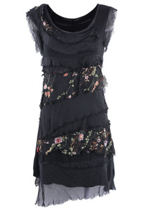 Gigi Floral Embroidered Short Dress - Black Front