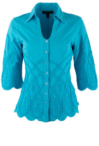 Gretty Zueger Turquoise 3/4 Sleeve Criss Cross Top - Front