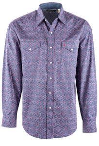 Stetson Blue Classic Medallion Print Snap Shirt - Front