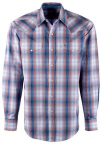 Stetson Blue Sunset Ombre Plaid Snap Shirt - Front