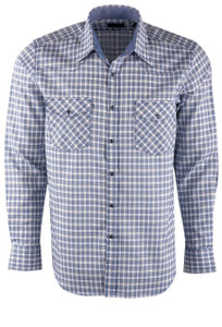Pinto Ranch YY Collection Blue Plaid Snap Shirt - Front