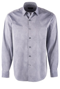 Bugatchi Patchwork Cotton Jacquard Shirt - Front