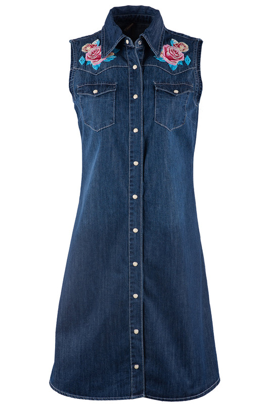 STETSON SLEEVELESS EMBROIDERED FLORAL EMBROIDERED DENIM DRESS