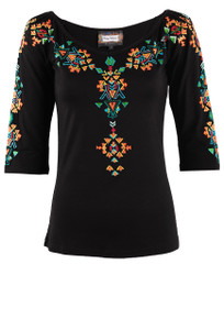 Vintage Collection Off-the-Shoulder Embroidered Knit Top - Black Front