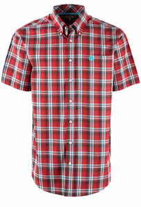 Cinch Men's Red Plaid Short Sleeve Shirt  - Front