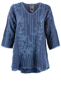Johnny Was Blue Night Lizbeth Blouse - Front